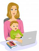 Illustration Featuring a Mother and Her Baby Engaged in an Online Chat