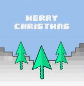 Digitally generated Merry christmas vector in retro video game style