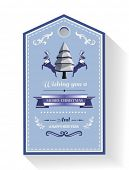 Digitally generated Christmas greeting tag with illustrations