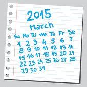 Calendar 2015 march (sketch style)