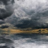 Storm clouds over sea. Natural background. Forces of nature concept.