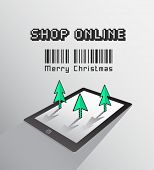 Digitally generated Shop online for christmas vector on tablet pc