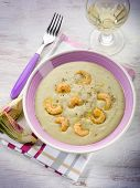 soup with artichoke and shrimp