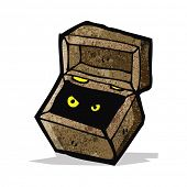 spooky monster in box cartoon