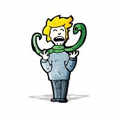 image of strangled  - cartoon snake strangling man - JPG