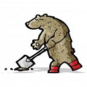 digging bear cartoon