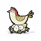 cartoon chicken on nest of eggs