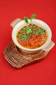 Russian ukraine cuisine - borsch dish on red background