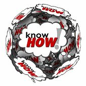 Knowhow word in many thought clouds or bubbles in a ball or sphere to illustrate your knowledge, skills, education, training, experience and expertise