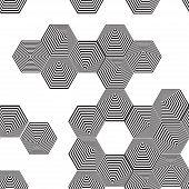 Volumetric 3D Pyramid Seamless Pattern. Hexagon. Optical Illusion