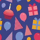 Happy Birthday Seamless Pattern Flat Style Set Cupcake With A Candle, Balloons, Gift Box, Party Hat.