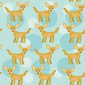 Africa Fennec Fox Seamless Pattern With Funny Cute Animal On A Blue Background