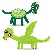 Funny Green Dragon On A White Background. Vector