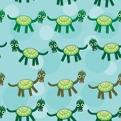 Funny Green Dragon On A Blue Background Seamless Pattern. Vector