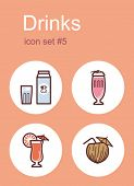 Drinks icons. Set of editable vector color illustrations.