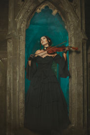 image of wraith  - Magical medieval girl playing the violin at night in the opening window of the castle - JPG