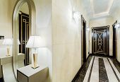 picture of mansion  - Luxury corridor with marble tiles in modern mansion - JPG