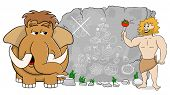 stock photo of cave-dweller  - vector illustration of a mammoth explains paleo diet using a food pyramid drawn on stone - JPG