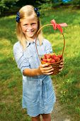 image of strawberry blonde  - cute girl holding a basket of ripe strawberries - JPG