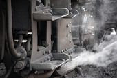 foto of steam  - Steam escapes from the footplate of a steam train engine - JPG