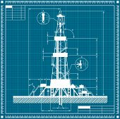 stock photo of rig  - Blueprint of Oil rig silhouette - JPG