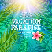 picture of bon voyage  - Colorful travel poster design with fresh green palm fronds and a pink frangipani flower over a blue sky with dynamic sun burst and the text  - JPG