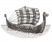 picture of viking ship  - sketch - JPG