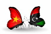 stock photo of libya  - Two butterflies with flags on wings as symbol of relations Vietnam and Libya - JPG