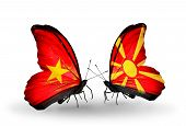 picture of macedonia  - Two butterflies with flags on wings as symbol of relations Vietnam and Macedonia - JPG