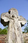 stock photo of crucifix  - Old crucifix gravestone in Pyrohiv near Kyiv Ukraine - JPG