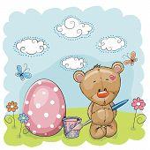 stock photo of cute bears  - Cute Teddy Bear paint eggs on the meadow - JPG