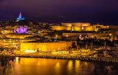 pic of saint-nicolas  - Night view of Fort St. Nicolas and Notre-Dame-de-la-Garde in Marseille France