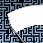 picture of wiper  - Clear solution concept with a windshield window wiper blade wiping off a complicated maze or labyrinth pattern as a business symbol of innovative thinking for financial success - JPG