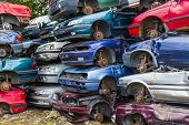 foto of scrap-iron  - Dump broken and crashed cars - JPG