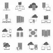 foto of security  - Public cloud secure data storage internet service hosting connected network users files black abstract isolated vector illustration - JPG
