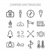 picture of travel trailer  - Set of simple isolated icons for camping and traveling - JPG
