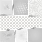 stock photo of sketch book  - Comics pop art style blank layout template with dots pattern background vector - JPG