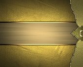 picture of gold  - Grunge gold background with a gold edge and gold ribbon - JPG