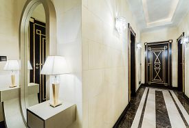 image of mansion  - Luxury corridor with marble tiles in modern mansion - JPG