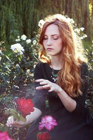 pic of auburn  - Young woman with auburn hair casting a spell in the rose garden