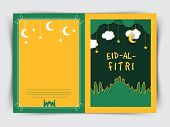 stock photo of fitri  - Creative greeting card design decorated with green mosque hanging stars - JPG