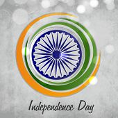 picture of indian independence day  - Stylish Ashoka Wheel surrounded by national flag color circles on shiny background for Indian Independence Day celebration - JPG