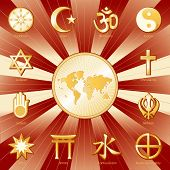 picture of khanda  - World map medallion surrounded with 12 world religions in crimson and gold - JPG