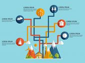 picture of ecology  - Stylish ecological infographic layout with colorful ecological icons for save ecology concept - JPG