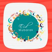 foto of crescent  - Stylish greeting card design decorated with colorful crescent moons - JPG