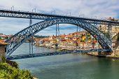 pic of dom  - Dom Luis I bridge in Porto in Portugal in a summer day - JPG