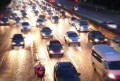pic of nightfall  - traffic at nightfall  - JPG