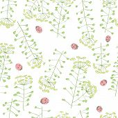 pic of ladybug  - ladybug and cute flowers seamless vector pattern - JPG