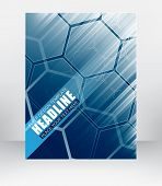picture of diagonal lines  - Business flyer template cover design or brochure with hexagonal pattern and diagonal lines vector illustration - JPG