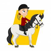 pic of pony  - Illustration of a cute little girl riding a pony isolated on a white background - JPG